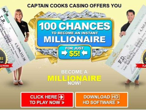 Captain Cooks Casino 100 Chances to Win for $5