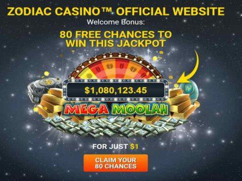 Zodiac Casino 80 chances to win jackpot